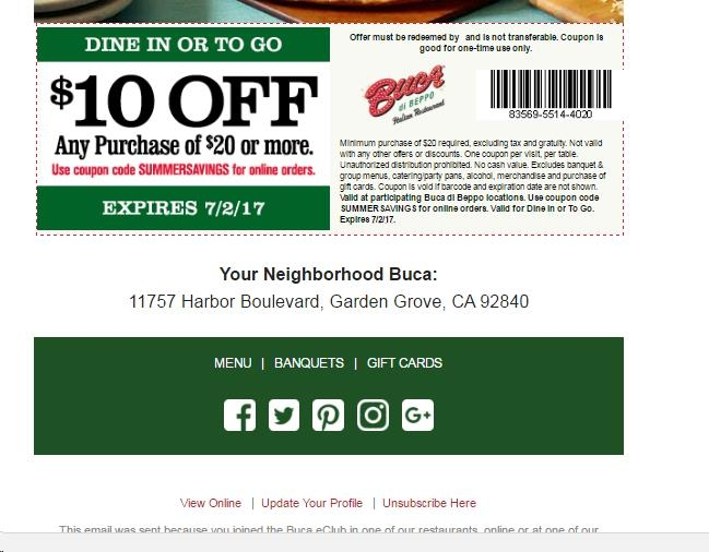 graphic relating to Buca Di Beppo Printable Coupons identified as Buca di beppo coupon codes 10 off - Southfield theater video clip occasions