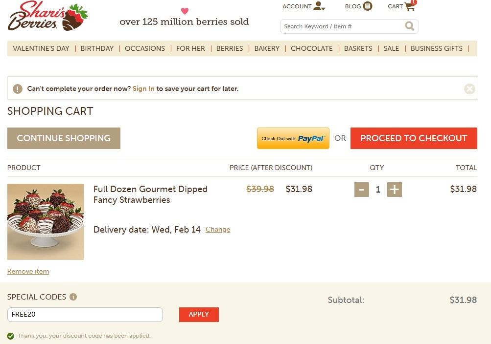 Shari's berries coupon code 2019