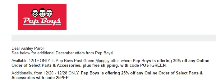 Are there any pep boys discount coupons