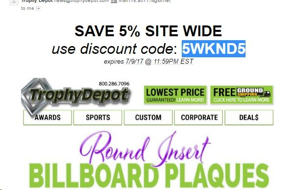 coupon code trophy depot