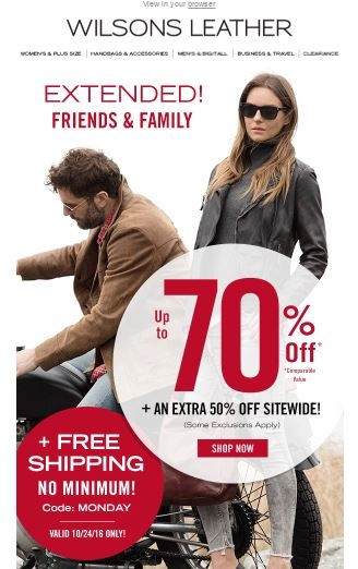 Wilsons leather coupons free shipping