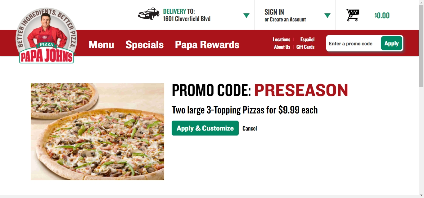 Papa johns codes 2018 / August 2018 Coupons