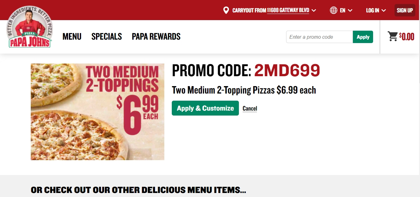 Enter the Papa John's promo code at the checkout page to save on pizzas, sides, desserts and drinks. Papa John's pizza is renowned for their healthy and fresh ingredients; its pizzas have received 8 national awards since