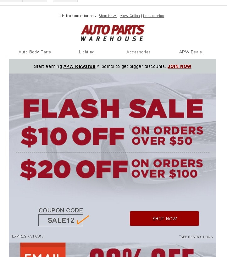 How to Use Buy Auto Parts Coupons Buy Auto Parts is an online vendor of car parts, truck parts, import parts, performance parts and automotive accessories. They offer free shipping on orders over $50 - no coupon needed%(6).