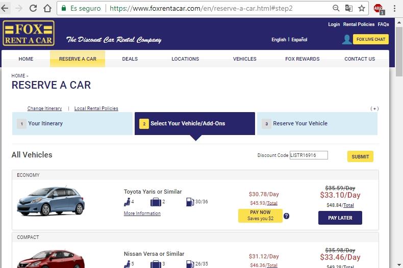 Fox rent a car discount coupon