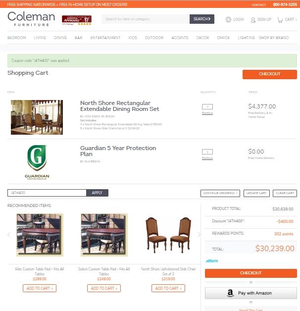 $25 f Coleman Furniture Coupon Code