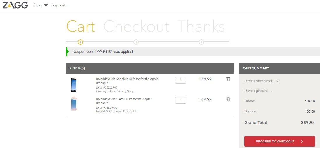 ZAGG routinely offers free shipping across the site, with no need for a coupon code. The best way to save at ZAGG is to combine automatic free shipping savings or promotions with one of the coupons from this page. The invisibleSHIELD comes with a lifetime replacement guaranteee. See the ZAGG 5/5(14).