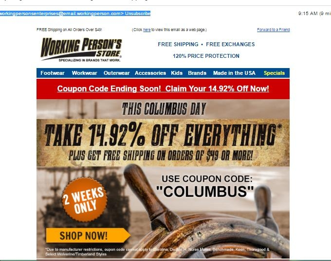 Working person store coupon code