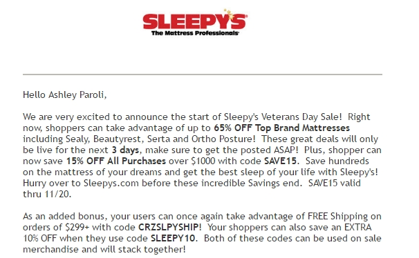 Sleepys coupon code
