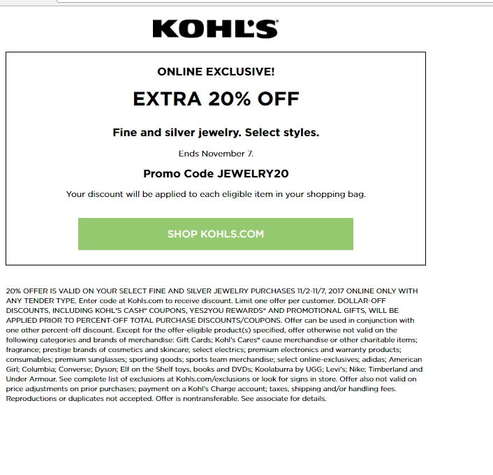 75 off kohl 39 s coupon code kohl 39 s 2017 promo codes for Kohls fine jewelry coupon