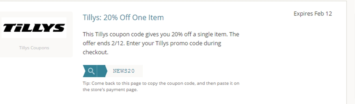 Tilly coupon code
