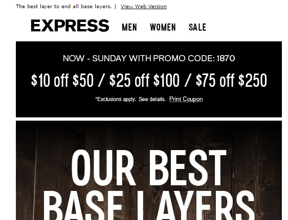 image regarding Express Coupons Printable 30 Off 75 identify Specific discount codes printable 30 off 75 june 2019
