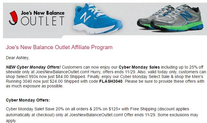 Huge Joes New Balance Outlet Coupon Code September 2017