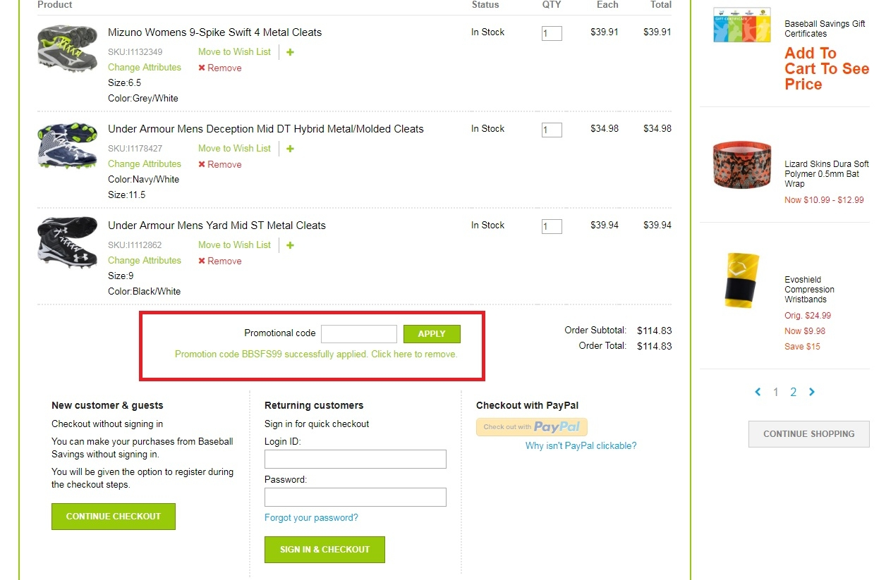 Baseball savings coupons free shipping