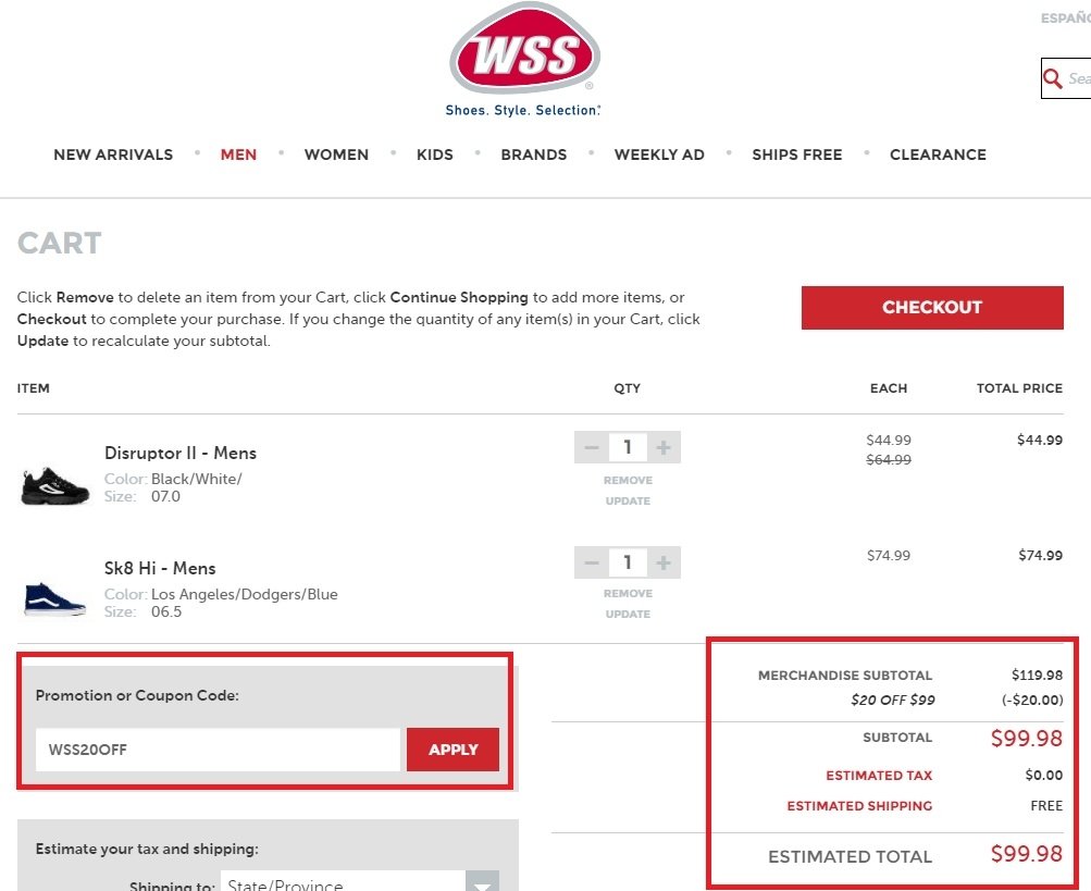 Wss in store coupons