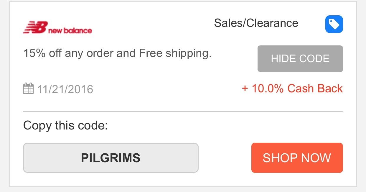 New balance coupon code instore