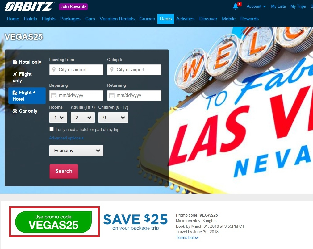 Orbitz flight coupon promotion code