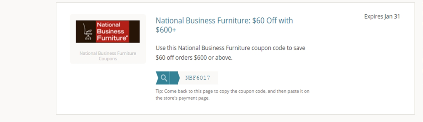 30% f National Business Furniture Coupon Code 2017