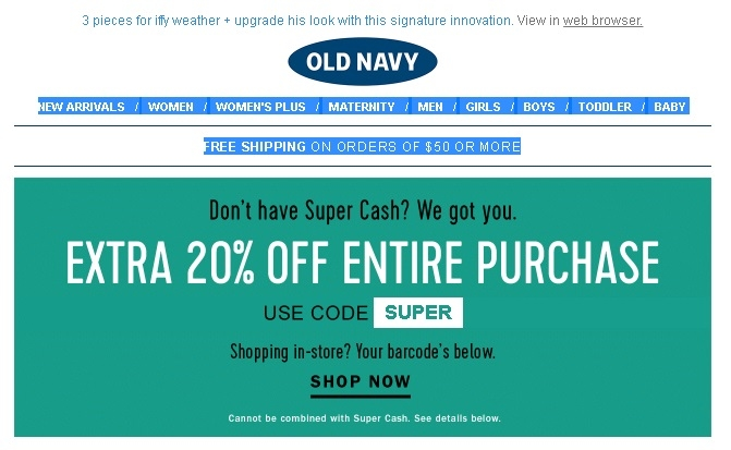 old navy super cash code april 2019